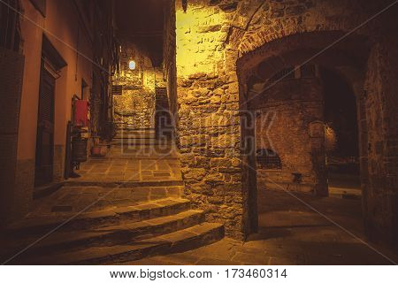 Walking Around Porto Venere Village at Night. Portovenere Architecture Liguria Italy.