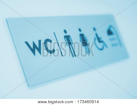 Restroom and Showers Door Sign. Male and Female Included Disabled Restrooms Information Sign.