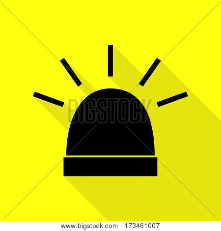 Police single sign. Black icon with flat style shadow path on yellow background.