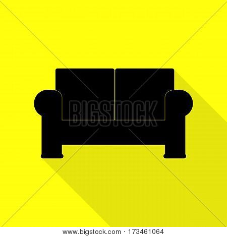 Sofa sign illustration. Black icon with flat style shadow path on yellow background.