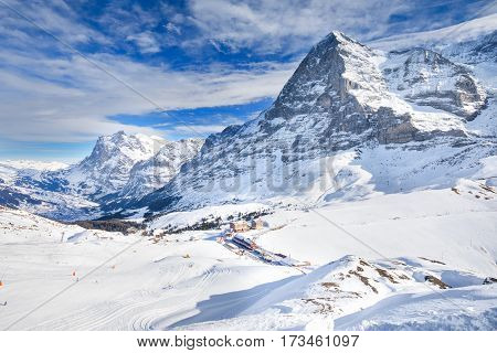 Ski resort in Swiss Alps with famous Eiger Monch and Jungfrau peaks Grindelwald Berner Oberland Grindelwald Switzerland.