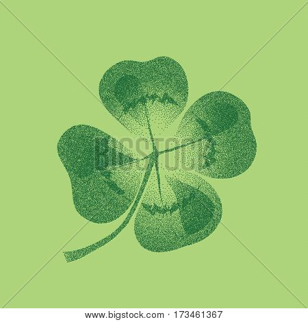 Lucky four leaf clover seamless design. Pointillism style in two tones of green.