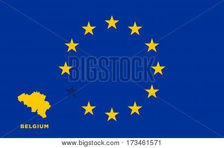 Referendum of the Belgium membership of the European Union. EU flag with the country of Belgium. The concept of leaving EU. Vector illustration