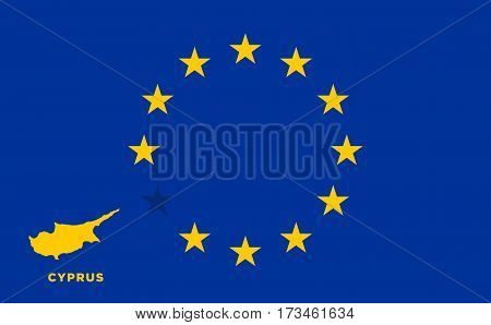 Referendum of the Cyprus membership of the European Union. EU flag with the country of Cyprus. The concept of leaving EU. Vector illustration