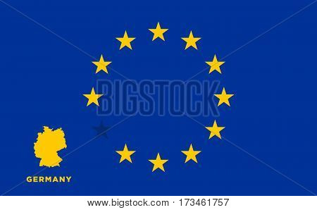 Referendum of the Germany membership of the European Union. EU flag with the country of Germany. The concept of leaving EU. Vector illustration
