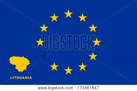Referendum of the Lithuania membership of the European Union. EU flag with the country of Lithuania. The concept of leaving EU. Vector illustration
