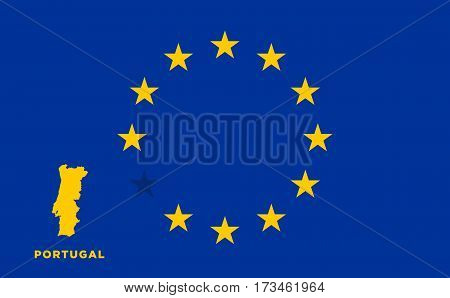 Referendum of the Portugal membership of the European Union. EU flag with the country of Portugal. The concept of leaving EU. Vector illustration