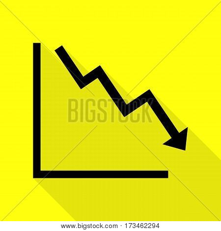 Arrow pointing downwards showing crisis. Black icon with flat style shadow path on yellow background.