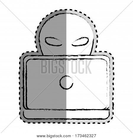 sticker monochrome blurred of criminal hacker and laptop vector illustration