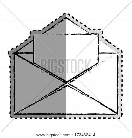 sticker monochrome blurred of open envelope mail vector illustration