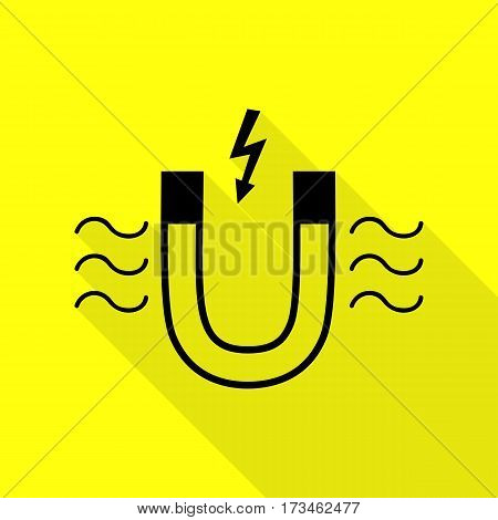 Magnet with magnetic force indication. Black icon with flat style shadow path on yellow background.