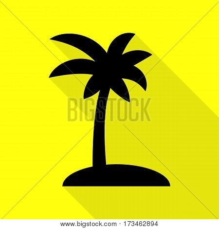 Coconut palm tree sign. Black icon with flat style shadow path on yellow background.