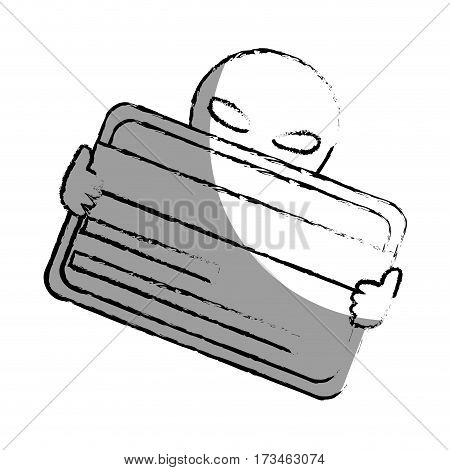 monochrome blurred contour with hacker stealing credit card vector illustration