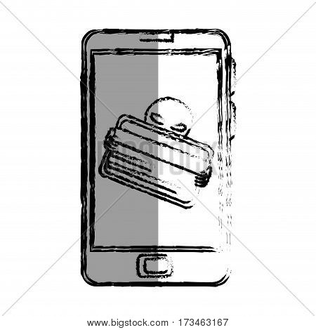 monochrome blurred contour with stealing credit card in cell phone vector illustration