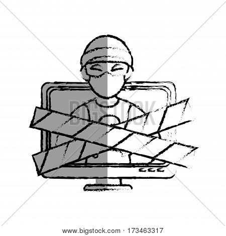 monochrome blurred contour with lcd monitor with hacker and warning tape vector illustration