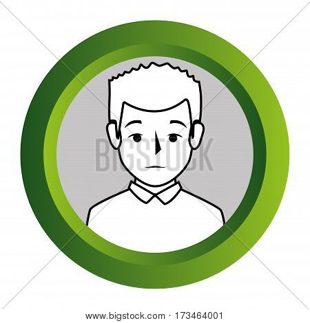color frame with monochrome contour of half body man with t-shirt vector illustration