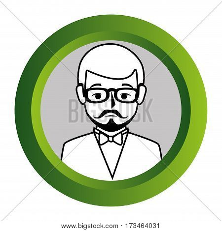 color frame with monochrome contour of half body man formal style with mustache vector illustration