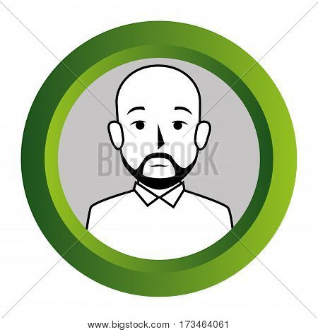 color frame with monochrome contour of half body bald man with beard vector illustration