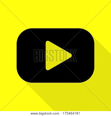 Play button sign. Black icon with flat style shadow path on yellow background.