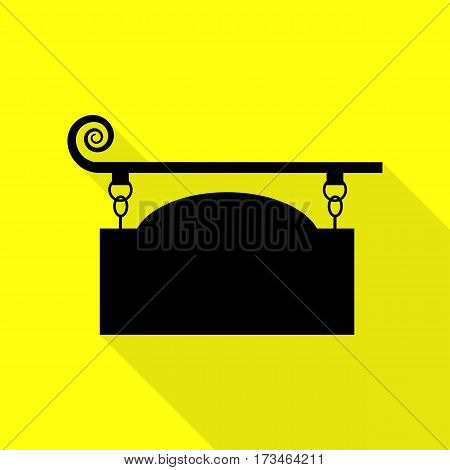 Wrought iron sign for old-fashioned design. Black icon with flat style shadow path on yellow background.