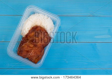 School Lunch Box Rice And Roast Chicken In Transparent Box. Box Lunch Delivery Service Or Take Home