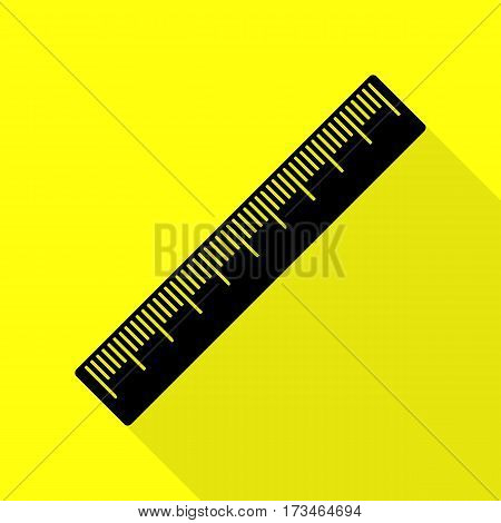 Centimeter ruler sign. Black icon with flat style shadow path on yellow background.