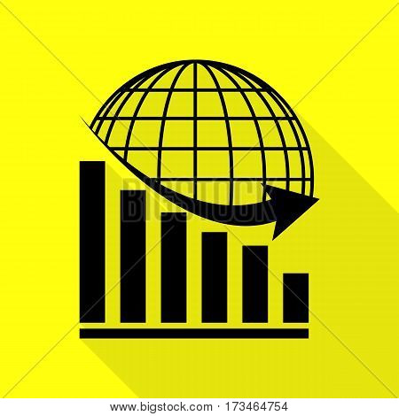 Declining graph with earth. Black icon with flat style shadow path on yellow background.