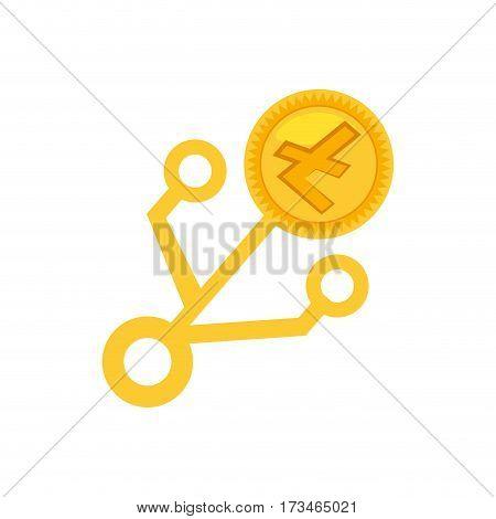 money litecoin golden virtual vector illustration eps 10
