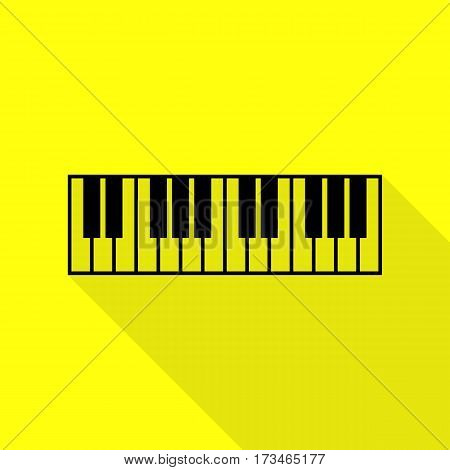 Piano Keyboard sign. Black icon with flat style shadow path on yellow background.