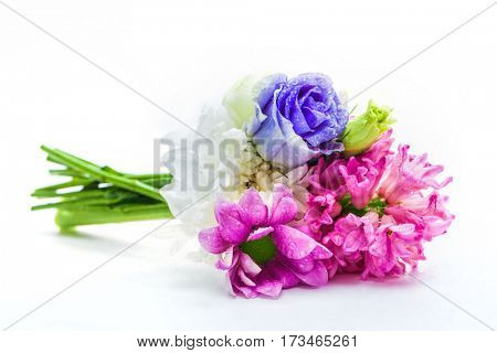 Bouquet of fresh spring flowers. Isolated on a white background. Perfect composition for Mother's Day or Valentine's Day.