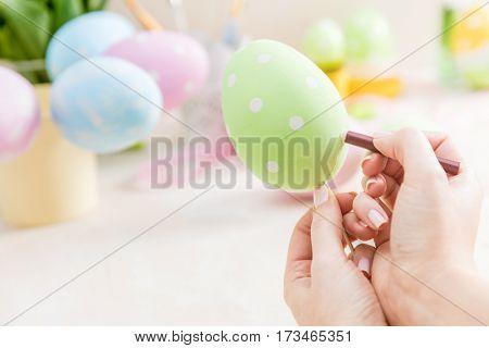 Pastel Easter egg handcrafted. Handmade decoration.