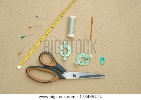 Basic Knitting Tools Flat Lay