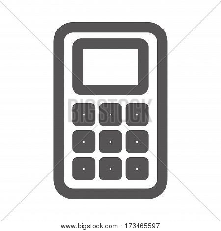 grayscale contour with basic calculator vector illustration