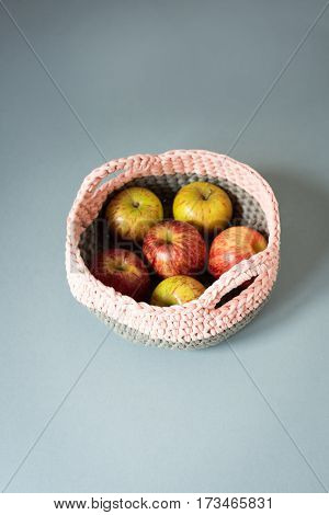 Apples In A Crocheted Woolen Basket