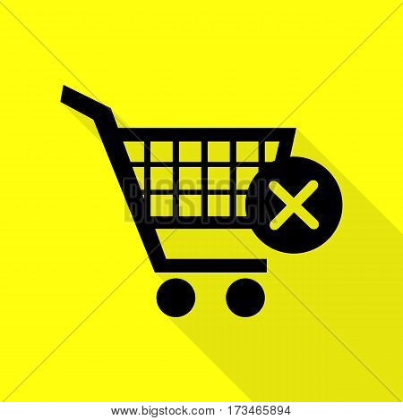 Shopping Cart with delete sign. Black icon with flat style shadow path on yellow background.