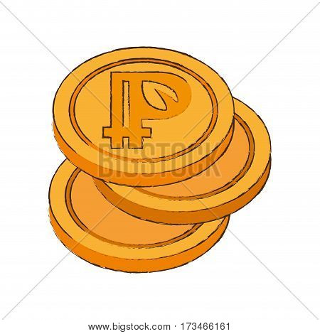 peercoin cryptocurrency stack icon vector illustration eps 10