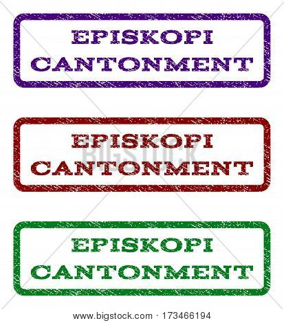 Episkopi Cantonment watermark stamp. Text caption inside rounded rectangle frame with grunge design style. Vector variants are indigo blue red green ink colors.