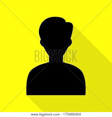 User avatar illustration. Anonymous sign. Black icon with flat style shadow path on yellow background.