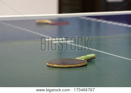The image of ping-pong table close up