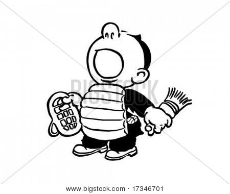 Play Ball! - Baseball Umpire - Retro Clipart Illustration