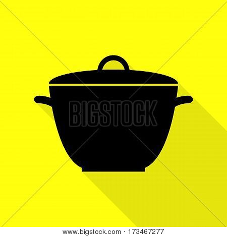 Saucepan simple sign. Black icon with flat style shadow path on yellow background.