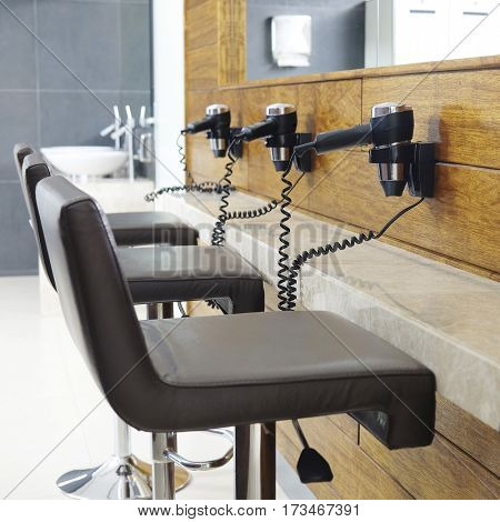 Hair dryers in a checkroom