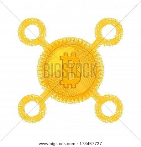 drawing bitcoin currency icon vector illustration eps 10