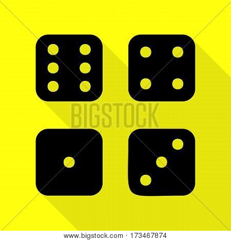 Devils bones, Ivories sign. Black icon with flat style shadow path on yellow background.
