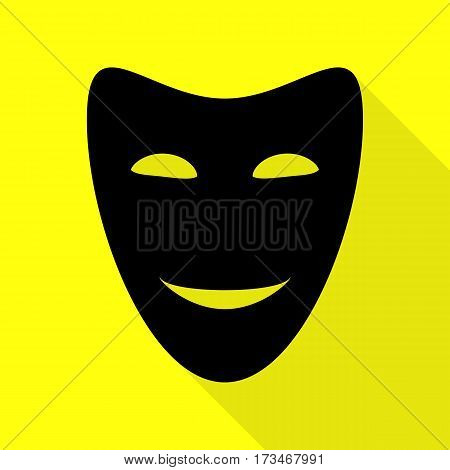 Comedy theatrical masks. Black icon with flat style shadow path on yellow background.