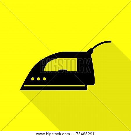Smoothing Iron sign. Black icon with flat style shadow path on yellow background.