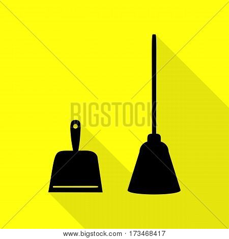 Dustpan vector sign. Scoop for cleaning garbage housework dustpan equipment. Black icon with flat style shadow path on yellow background.