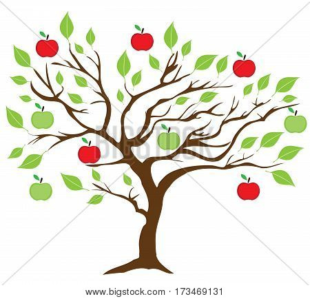 vector illustration of an apple tree with green and red apples