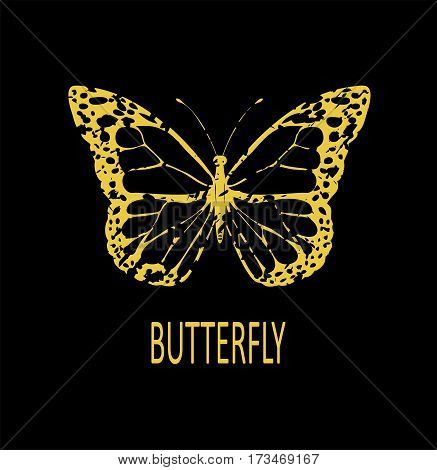 vector illustration of a vintage grunge golden butterfly