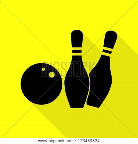Bowling sign illustration. Black icon with flat style shadow path on yellow background.